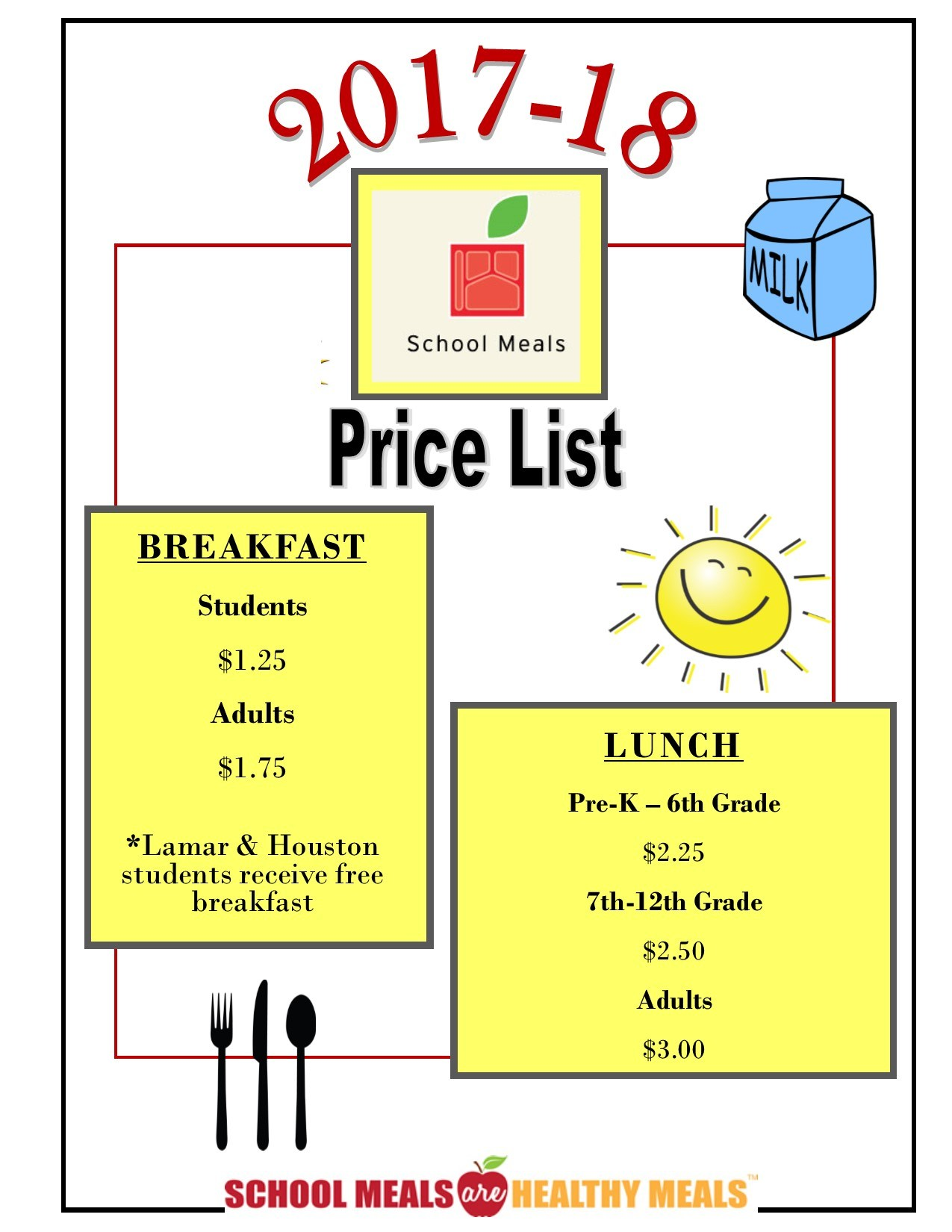 2017-18 Lunch Prices