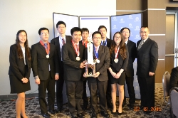 The Mark Keppel High School Academic Decathlon team:  (left to right) Jocelyn Shackleford, Jeffery Wong, Jason Chang, Patrick Chea, Justin Ho, Chaney Tse, Eric Lin, Annette Cai, Jimmy Chong, and Coach Tin Tran.