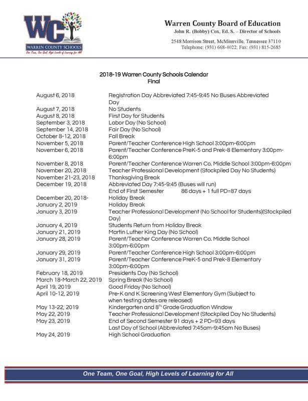 18 19 Warren County Schools Calendar Thumbnail Image