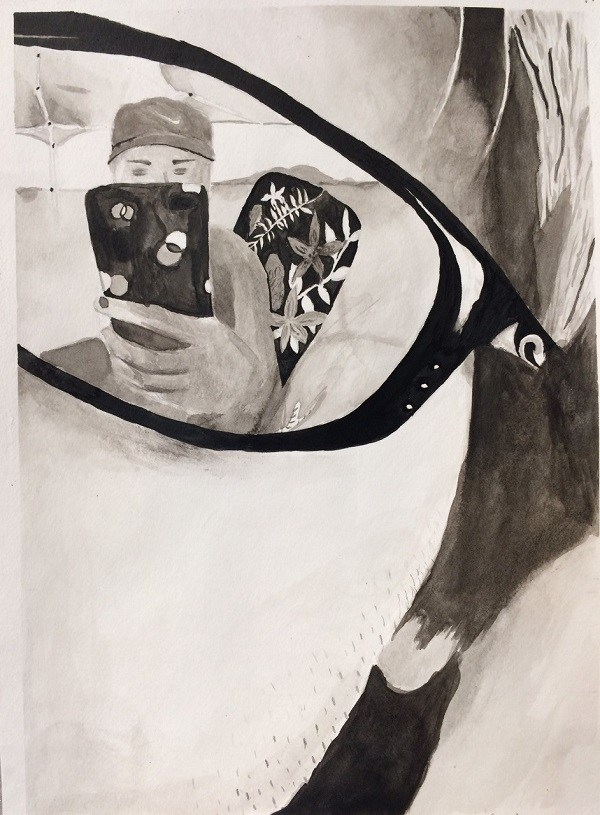drawing of boys reflection in glasses