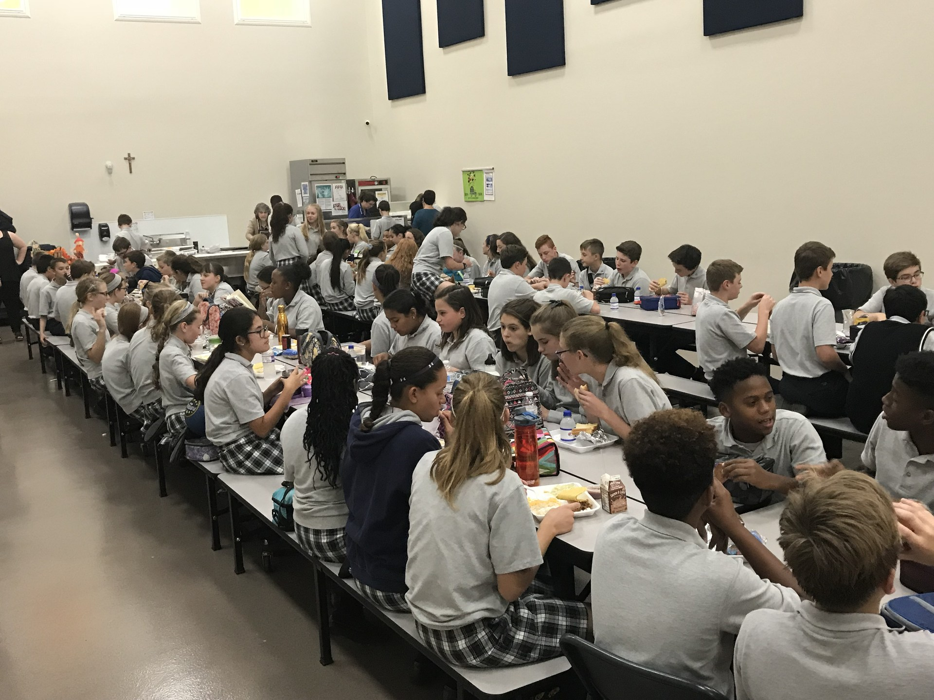 Students eating lunch in cafeteria
