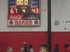 Photo of the scoreboard for Baker vs Parkview game, score is 67 to 43 in favor of Baker