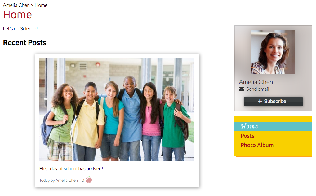 Your photo appears on the right side of the home page of your personal pages