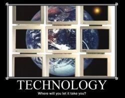 Globe through a window with Technology written below