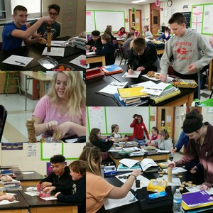 Collage of pictures of students completing a math activity.