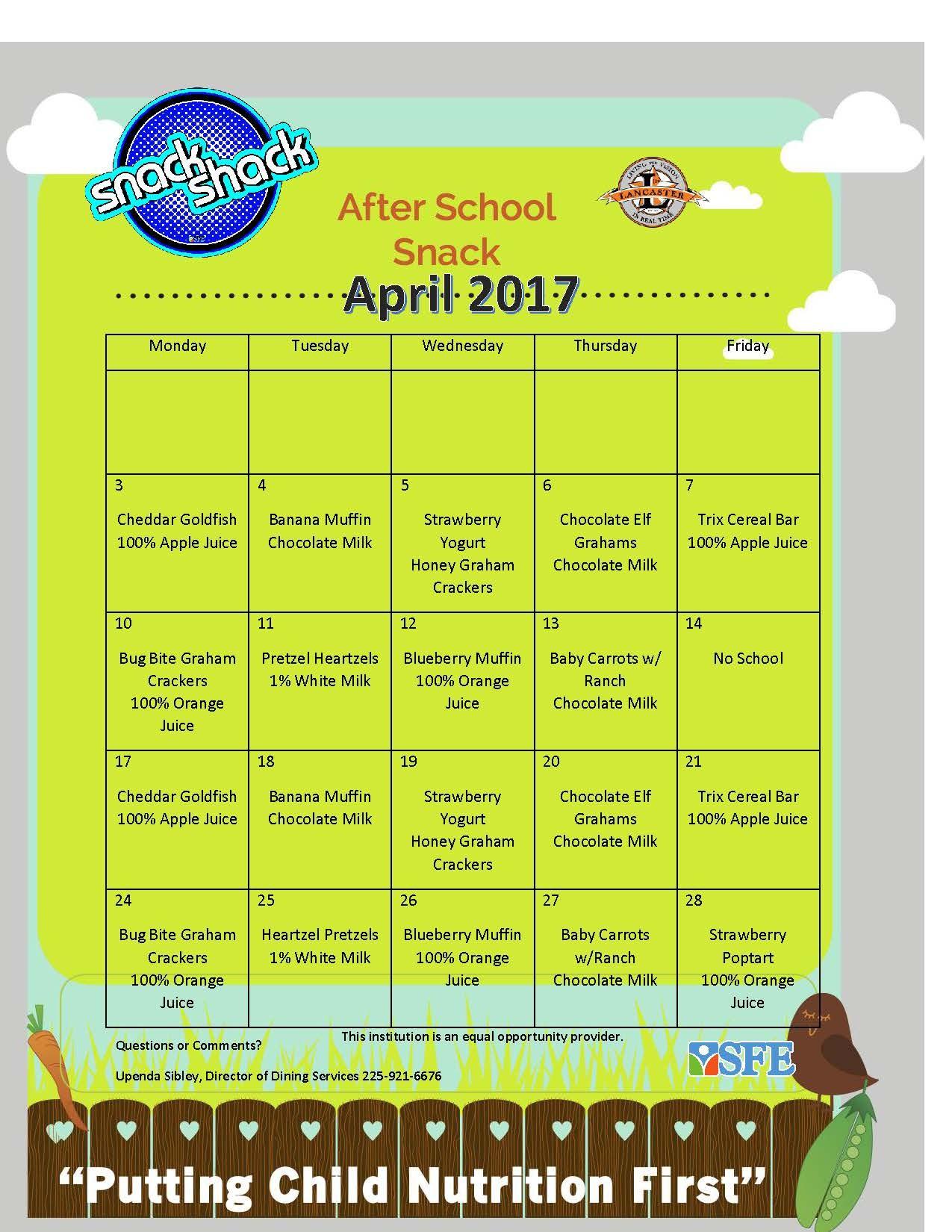 April 2017 Snack Menu