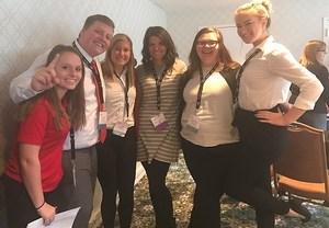 Image of the five national qualifiers for the FCCLA competition and individual photos of Madi Flick and Sydnie Hocter