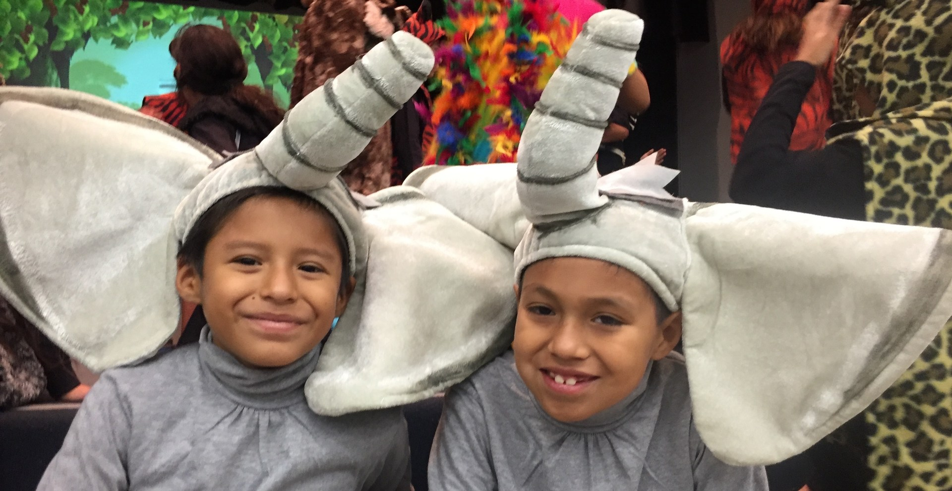 Two students dressed in elephant costumes for Jungle Book.