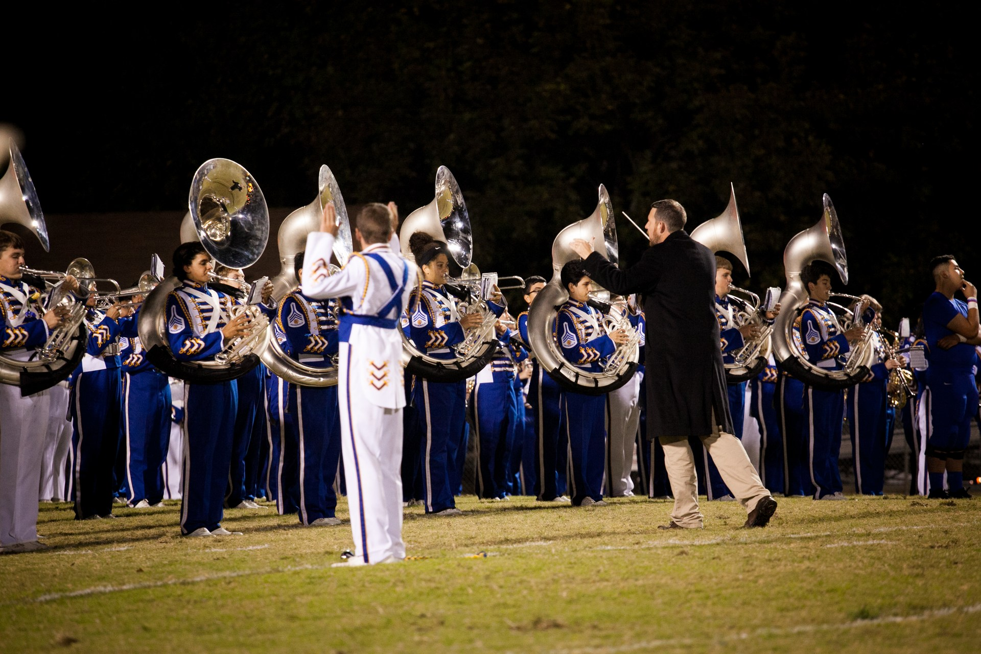 band before a performance on the field