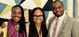 Principal Corley and Ms. Brown, VAPA Lead teacher with Ava Duvernay