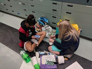 Students from Mrs. Simmons 8th grade Science classes during their rocket building projects.