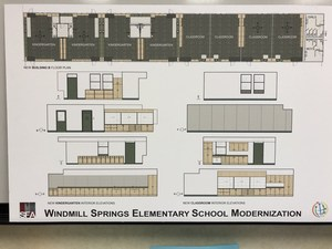 plan showing sample of new classroom interior elevations