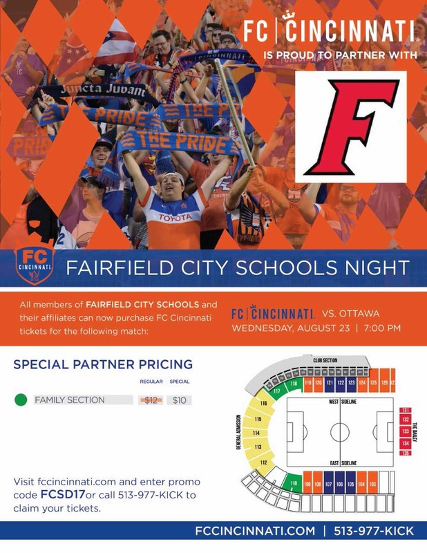 Image of a flyer being used to promote the FC Cicninnati Soccer match August 23 which is Fairfield City Schools Night