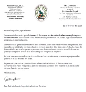 March 9 Letter Reg School Day SPANISH.PNG