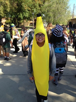 A girl dressed as a banana!