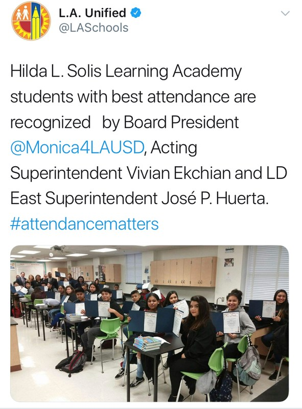 Solis Recognized for Decreasing Chronic Absenteeism Featured Photo