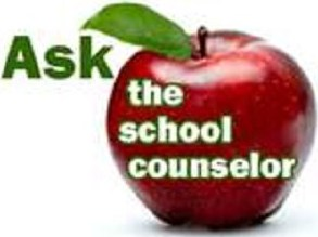 Logo to ask the school counselor with an apple.