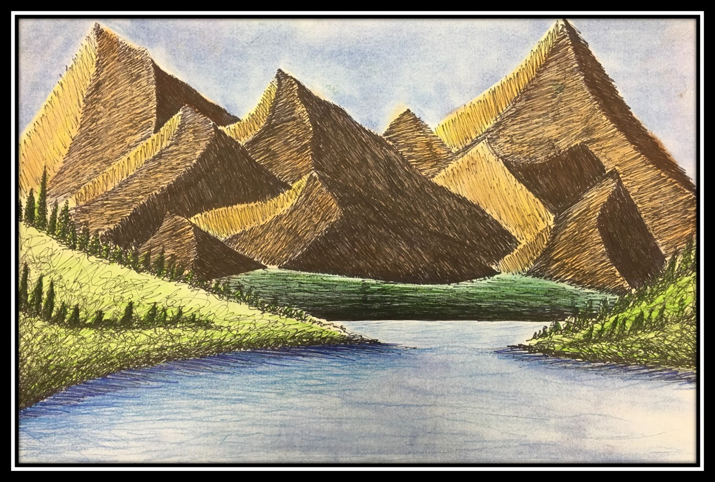 painting of mountains and stream