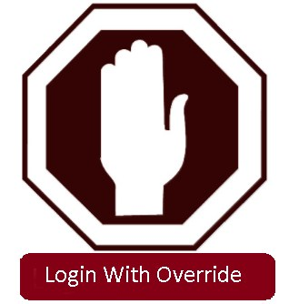 stop sign with hand and login