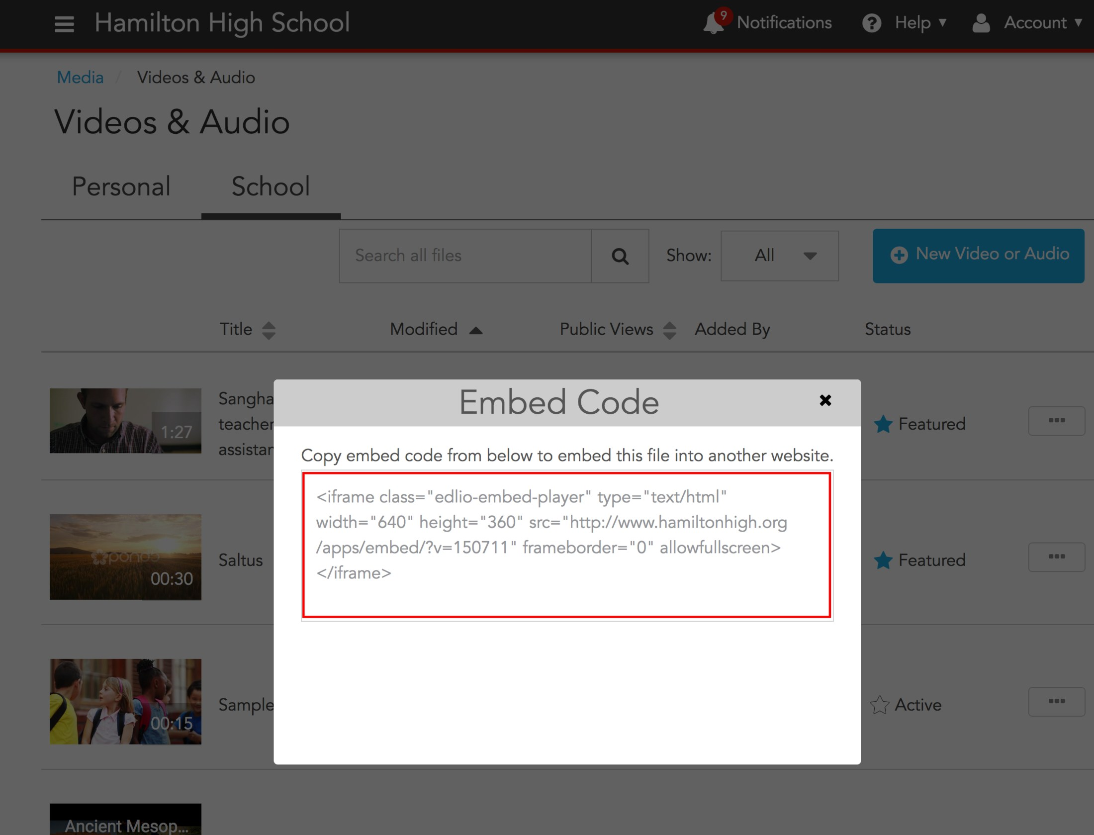 Get Edlio video embed code - Videos & Audio - Edlio Help Center