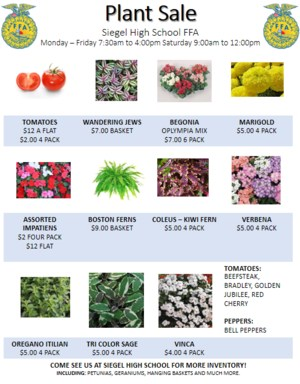 Plant Sale flyer with prices