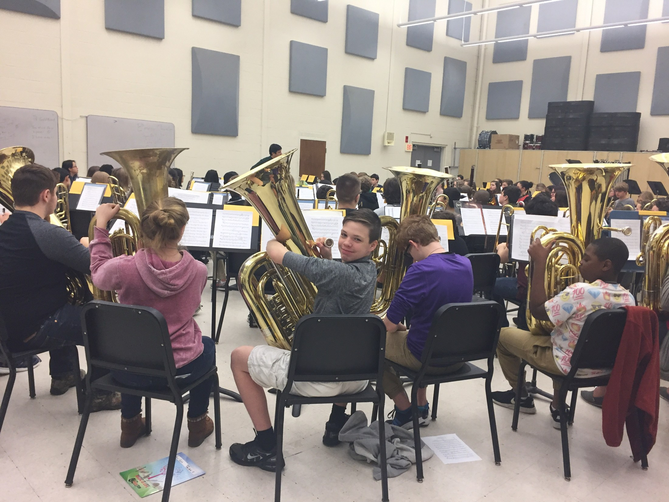Gold band in rehearsal