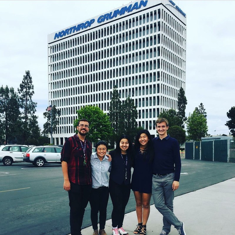 Five El Segundo High School students recently completed internships and graduated from the 17-week Northrop Grumman High School Involvement (HIP) program where they gained in-depth engineering experience and earned scholarships. The students are (l to r): Matthew Paysse, Kristin Villanueva, Rachael Wang, Kristine Shen, and Thomas Lynch, Jr.