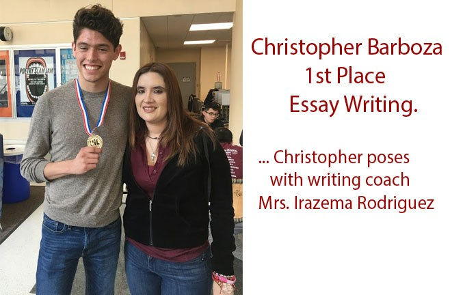 Christopher Barboza takes 1st place at UIL essay writing contest.