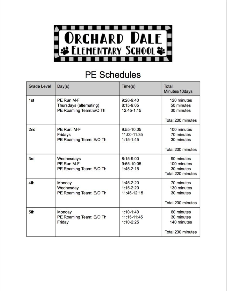 PE Schedule flyer