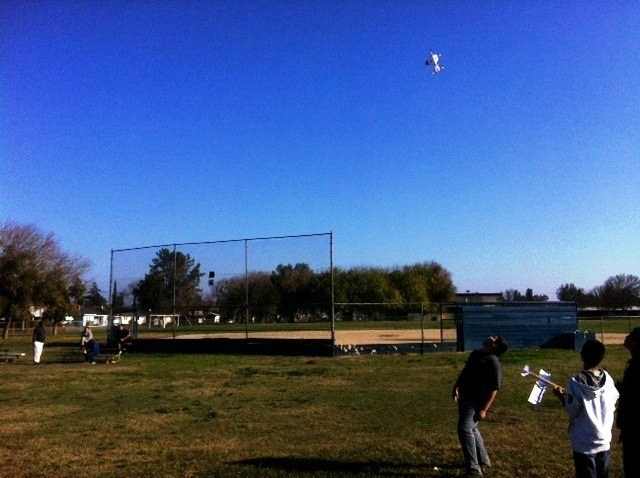 Students flying gliders