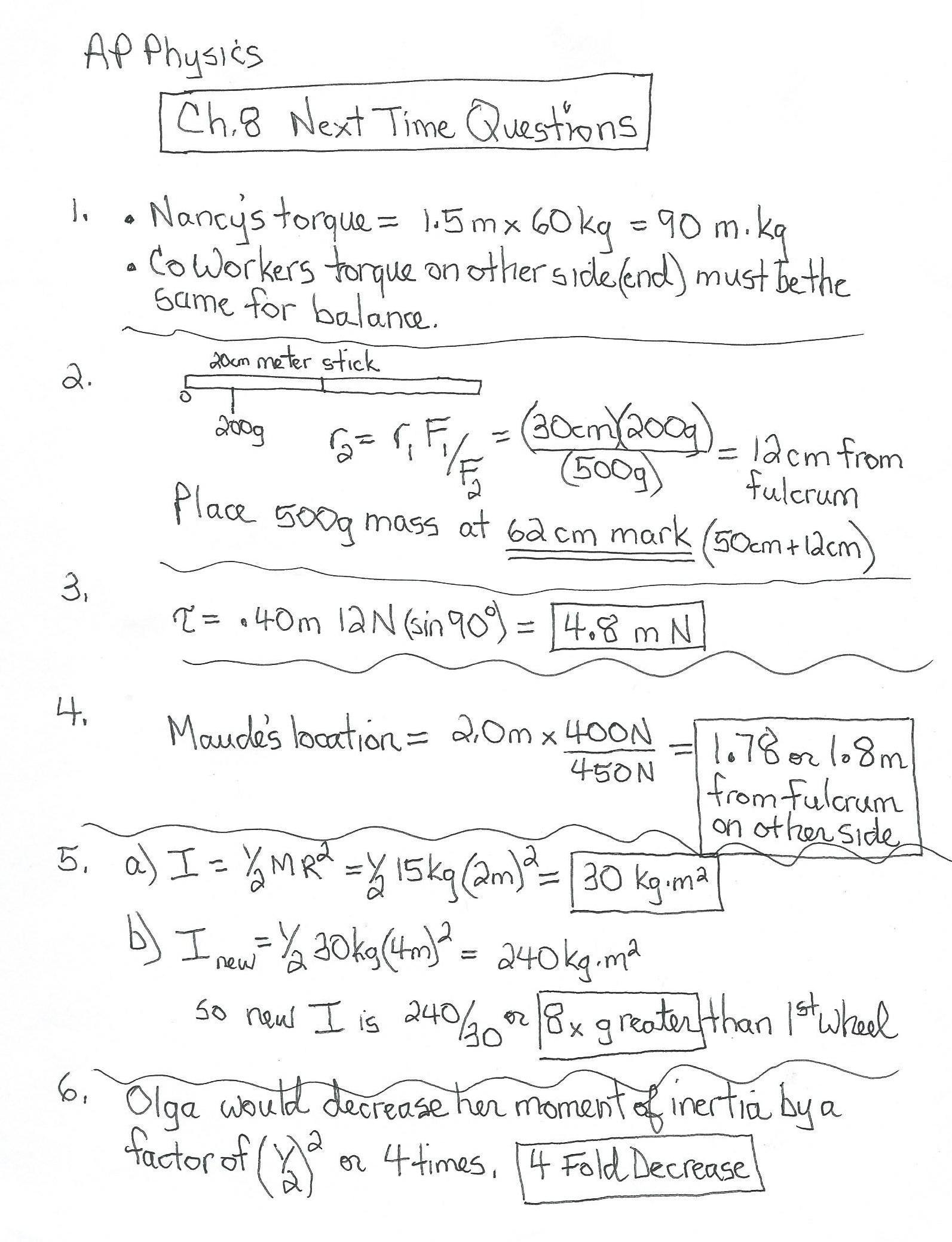 worksheet Centripetal Force Worksheet south pasadena high school apphys chap 8 ntq answers side 1 jpg