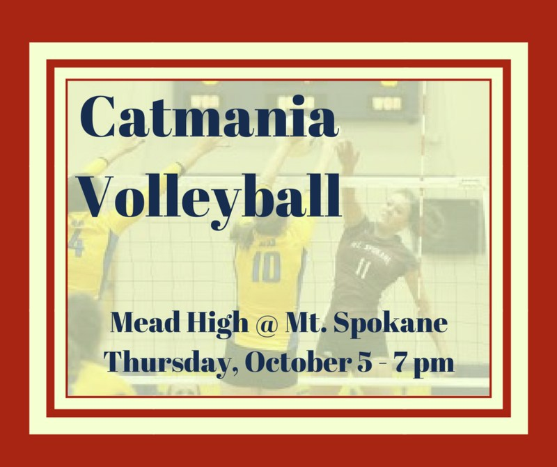 CATMANIA Volleyball Thursday, October 5 @ Mt. Spokane Featured Photo