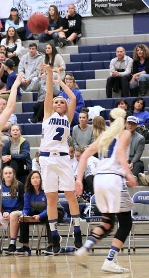 Stansbury Girls Basketball player shoots a jumpshot.