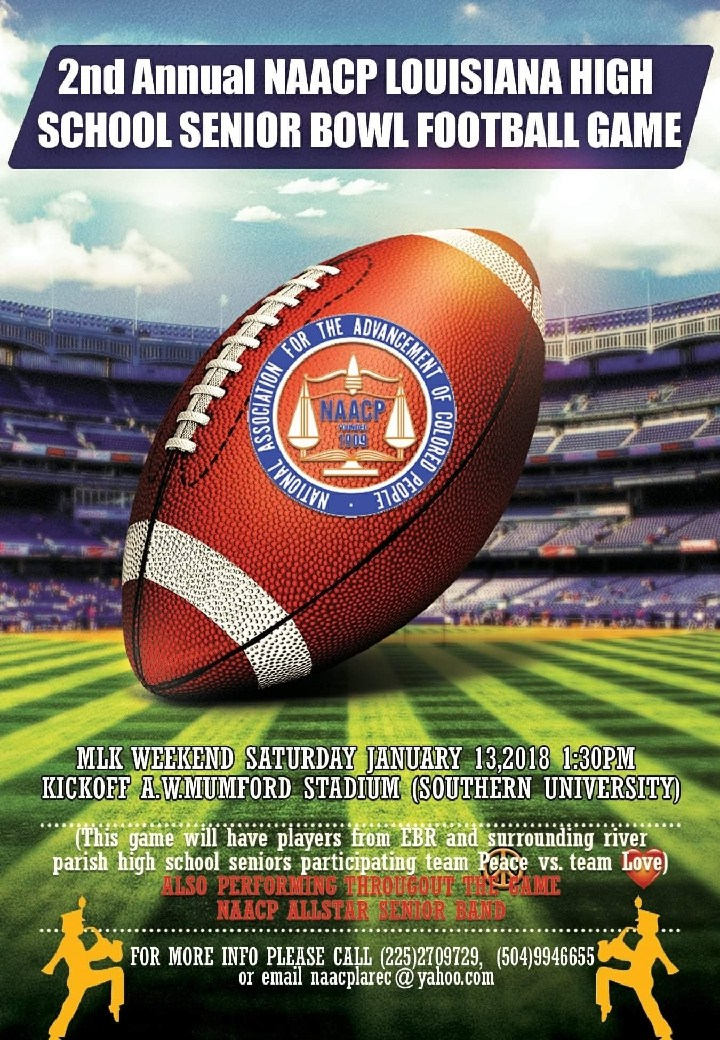 Photo of flyer promoting the 2nd Annual NAACP LA  High School SR Bowl Football Game