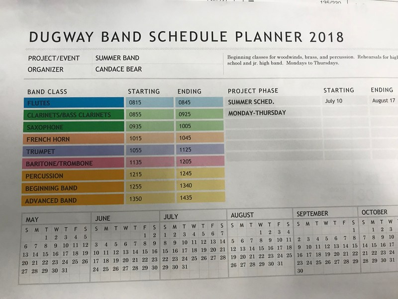 Summer Band Schedule Thumbnail Image