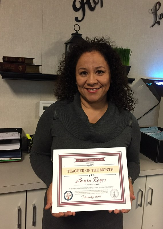Margaret Heath teacher Laure Reyes has been honored for her commitment to diversity, the arts, student development and her community by Dual Language Schools.