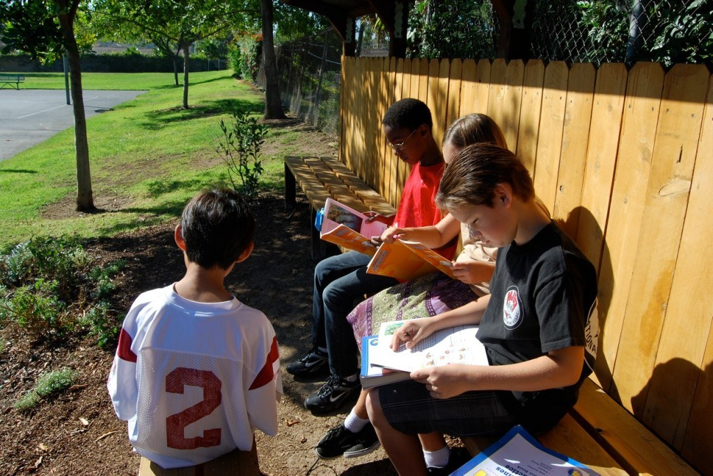 Students learning in the outdoor garden