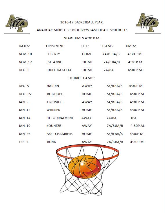 2016 2017 middle school boys basketball schedule benjamin west