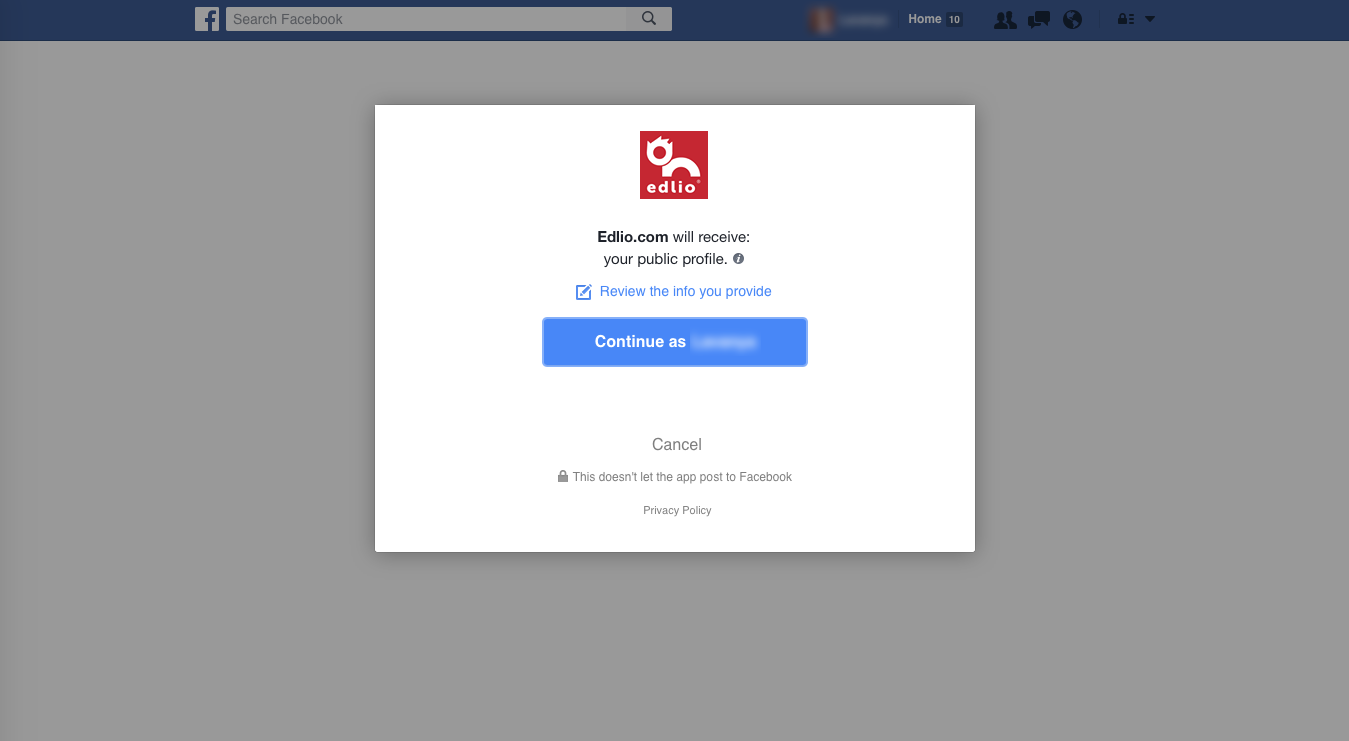 Authorize Edlio CMS to post to Facebook