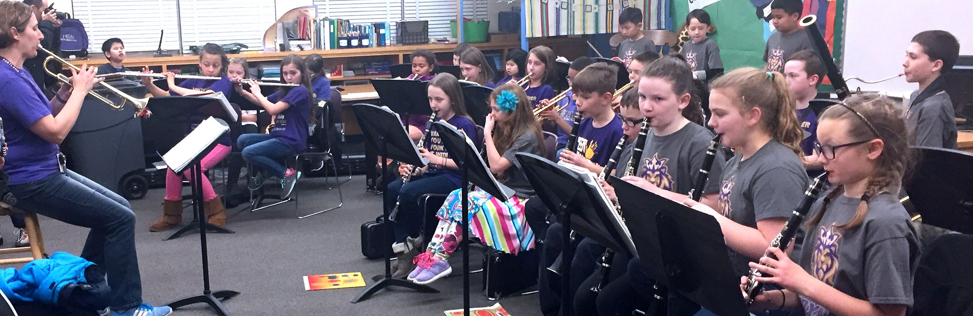 Elementary band students perform at student showcase