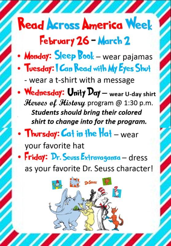 Read Across America Week Schedule Thumbnail Image
