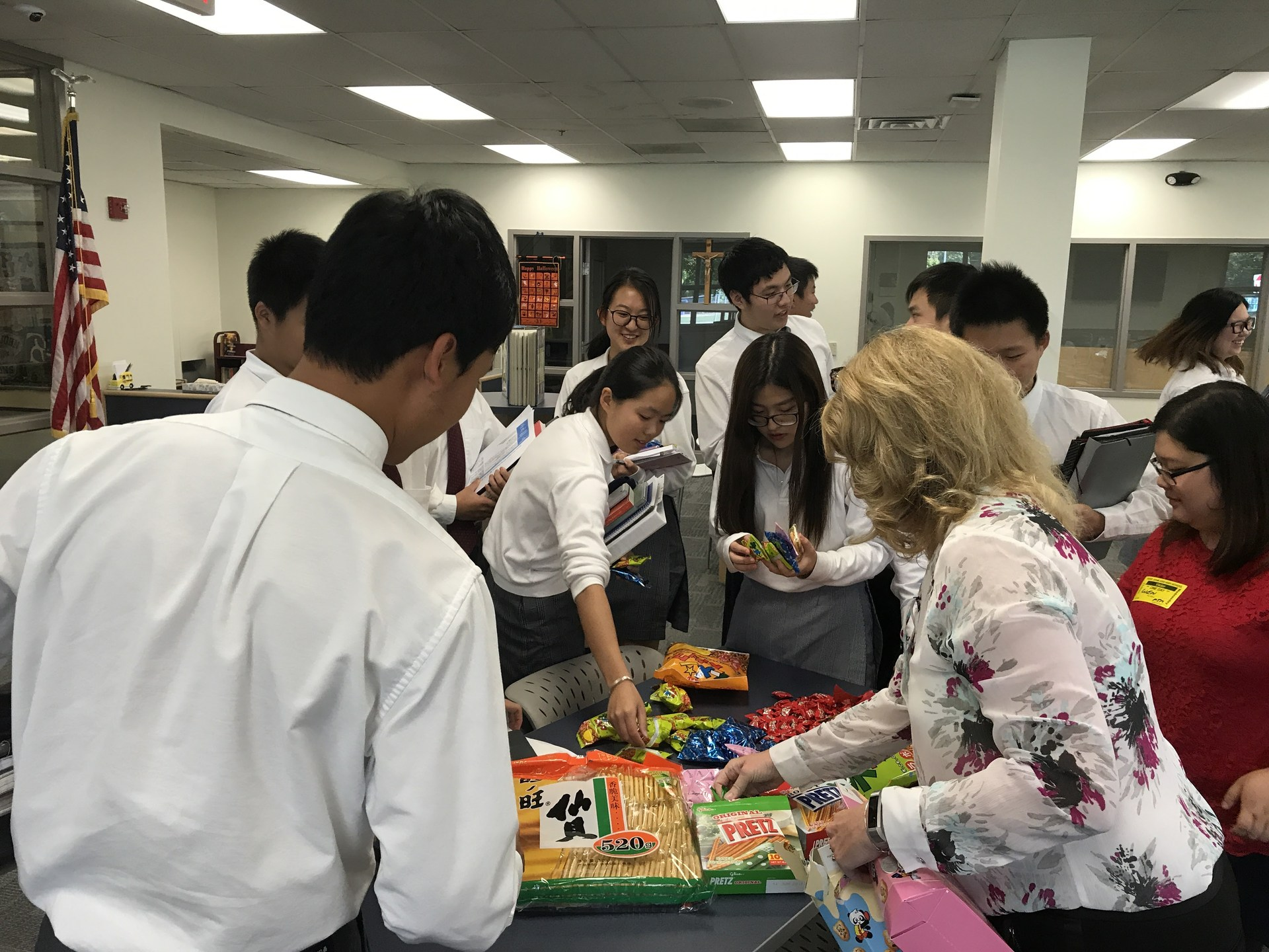 Chinese students doing activity in library