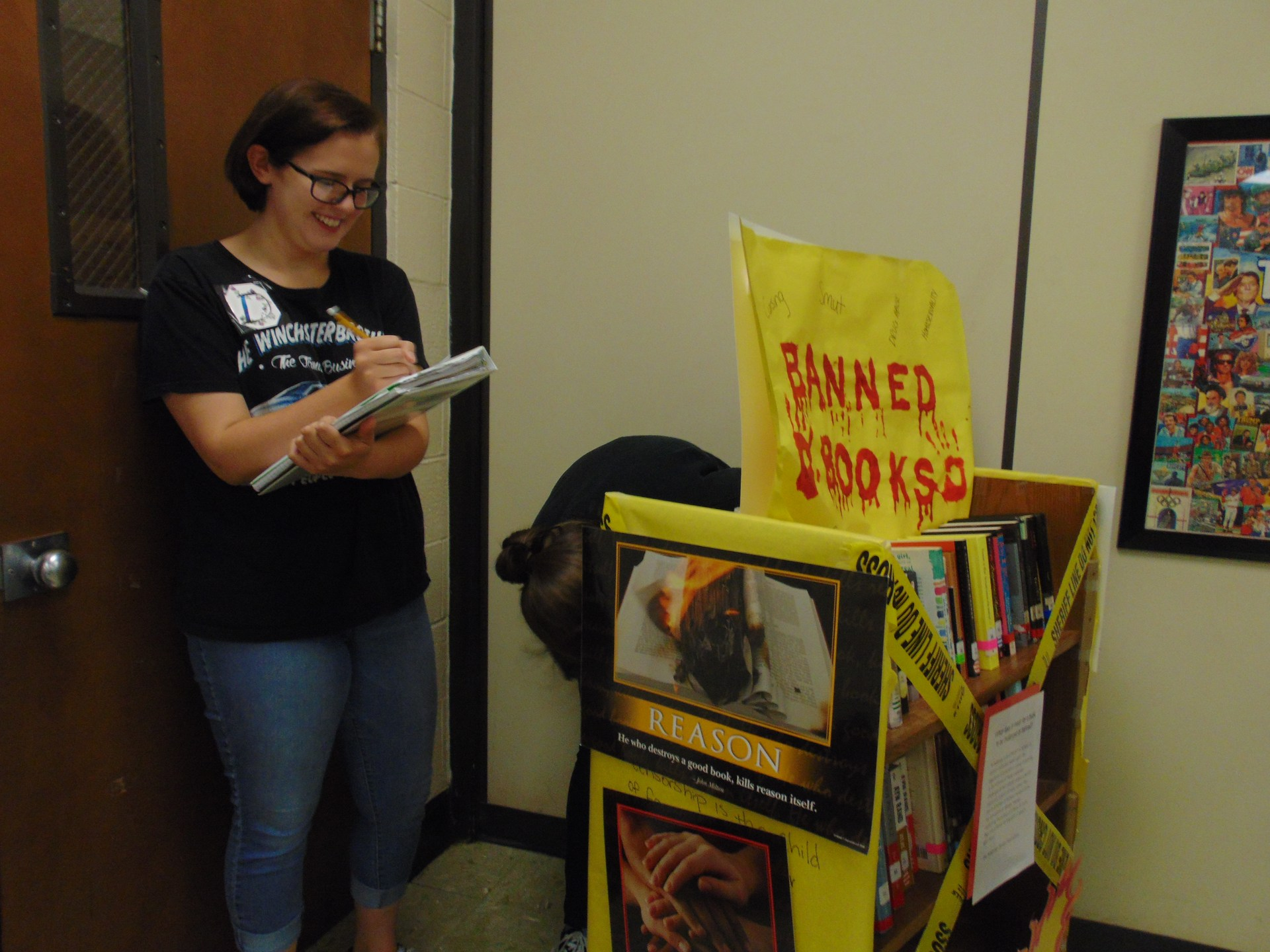 Student created display for Banned Books Week.