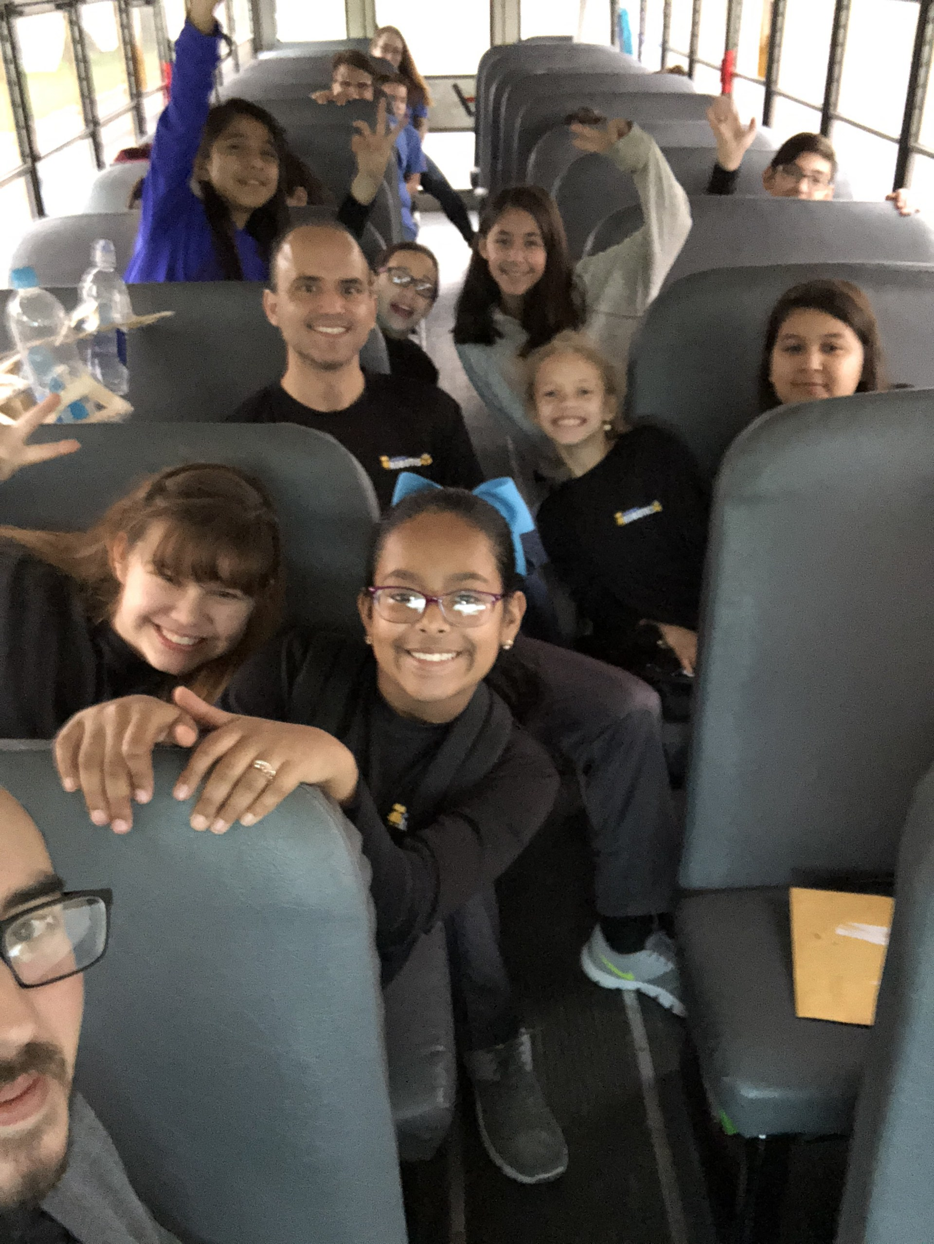 Robotics team on their way to a competition