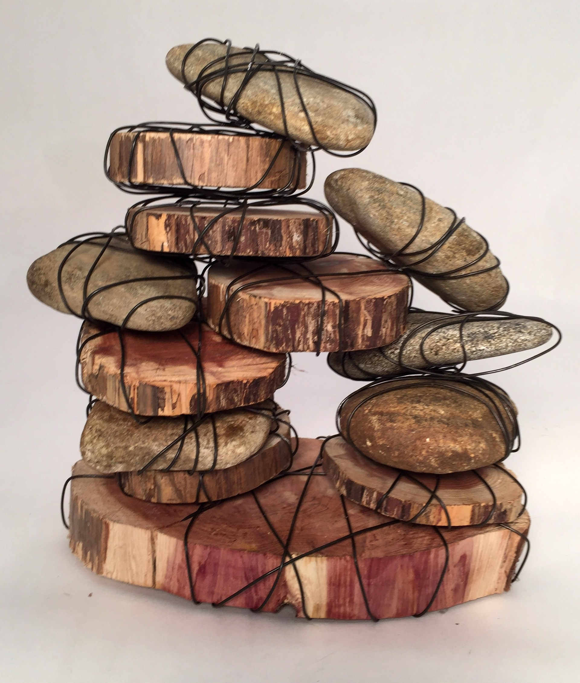 Sculpture of rocks bound with wire