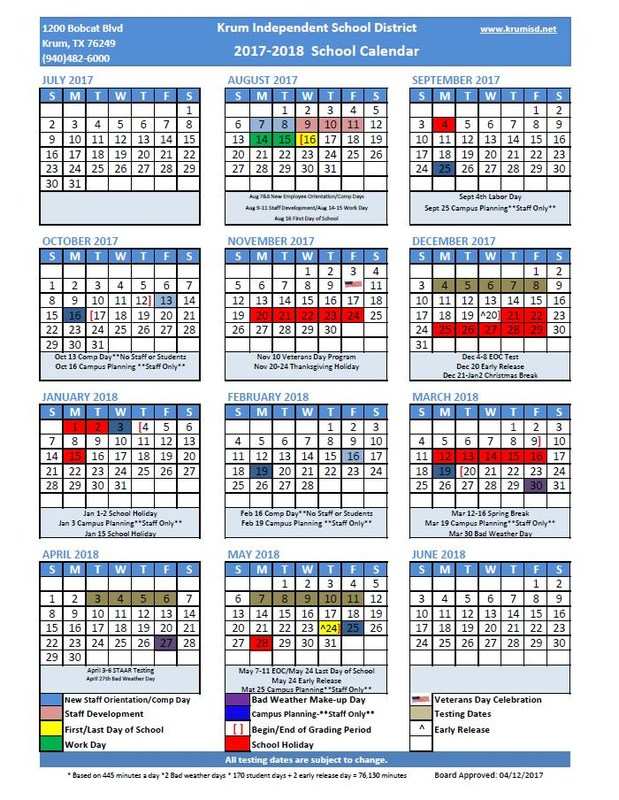 2017-2018 Board Approved School Calendar Thumbnail Image