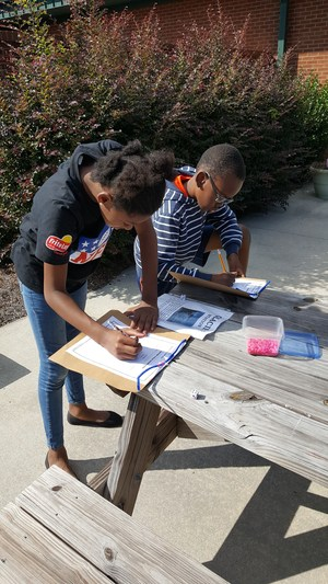 Students working on a Water Wonders Project at Lomax