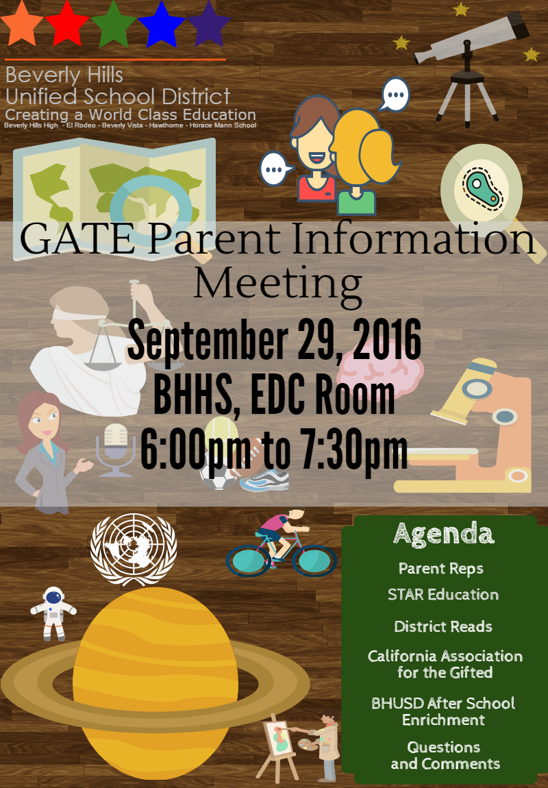 Notification for Sept 29 GATE Parent Meeting
