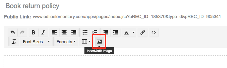 Insert image button in Pages