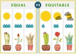 graphic representation of equal vs. equitable.  On the equal side, all the plants get the same amount of water and sun, but none of them thrive.  On the equitable side, each plant gets the amount of sun and water that is optimal for it's growth and they all thrive.